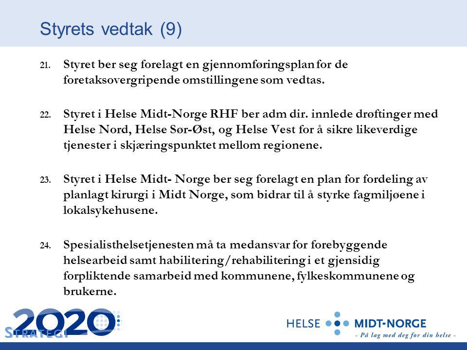 21. Styret ber seg forelagt en gjennomføringsplan for de foretaksovergripende omstillingene som vedtas. 22. Styret i Helse Midt-Norge RHF ber adm dir.
