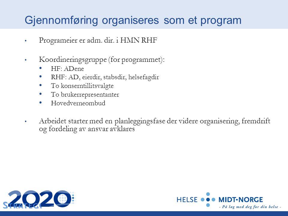 Gjennomføring organiseres som et program Programeier er adm. dir. i HMN RHF Koordineringsgruppe (for programmet): HF: ADene RHF: AD, eierdir, stabsdir