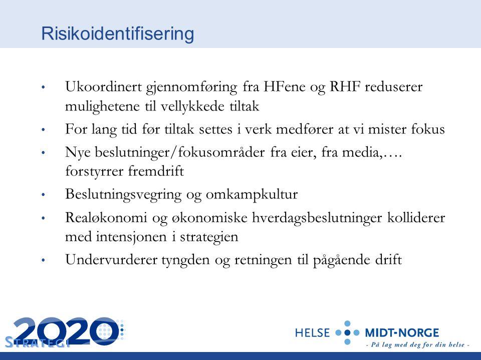 Risikoidentifisering Ukoordinert gjennomføring fra HFene og RHF reduserer mulighetene til vellykkede tiltak For lang tid før tiltak settes i verk medf