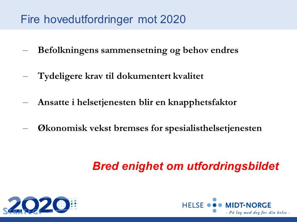 Fire hovedutfordringer mot 2020 – Befolkningens sammensetning og behov endres – Tydeligere krav til dokumentert kvalitet – Ansatte i helsetjenesten bl