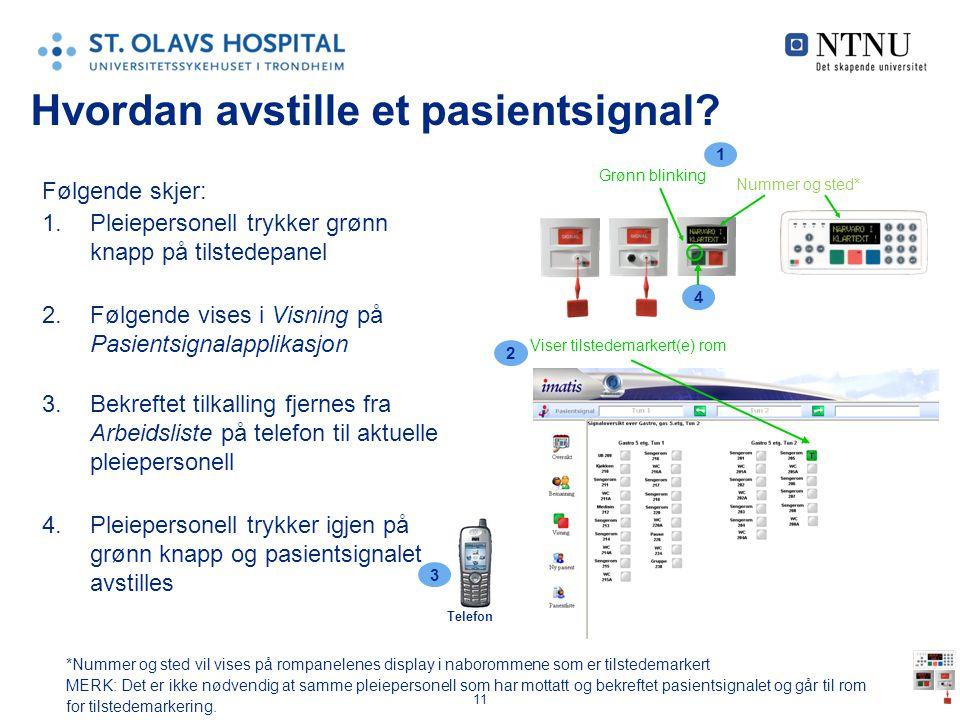 11 Hvordan avstille et pasientsignal? Følgende skjer: 1.Pleiepersonell trykker grønn knapp på tilstedepanel 2.Følgende vises i Visning på Pasientsigna