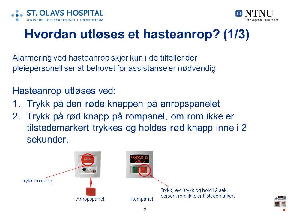 12 Hvordan utløses et hasteanrop? (1/3) Alarmering ved hasteanrop skjer kun i de tilfeller der pleiepersonell ser at behovet for assistanse er nødvend