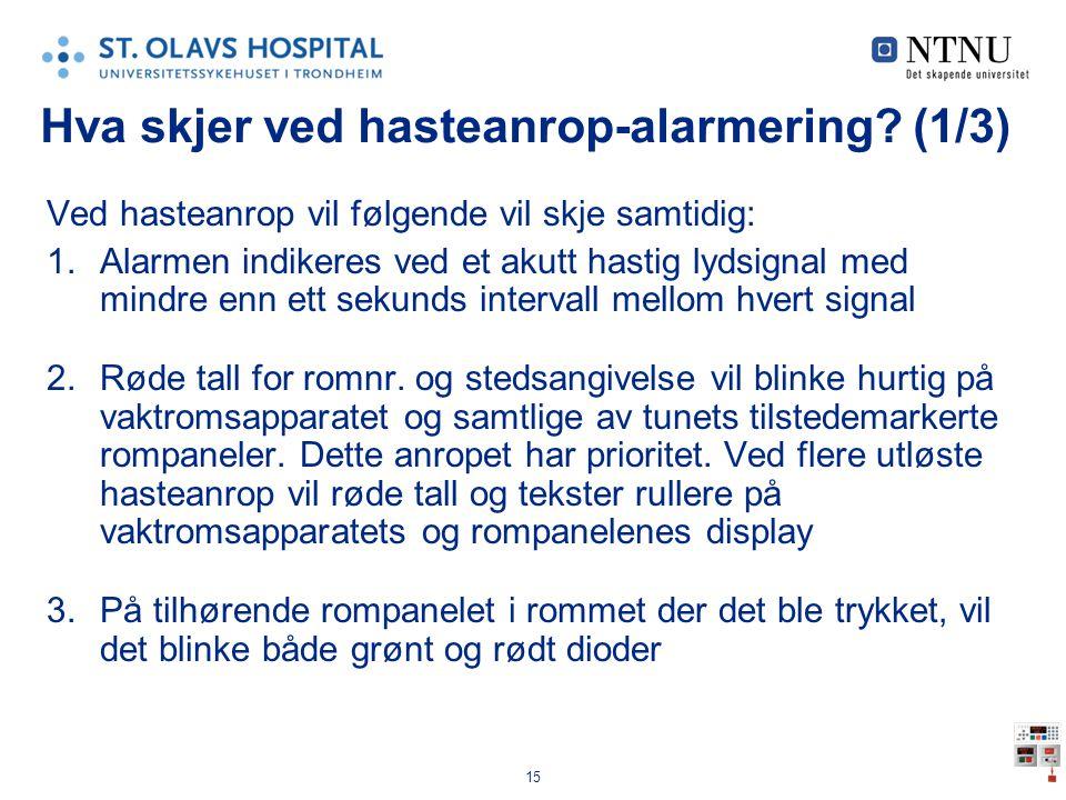 15 Hva skjer ved hasteanrop-alarmering? (1/3) Ved hasteanrop vil følgende vil skje samtidig: 1.Alarmen indikeres ved et akutt hastig lydsignal med min