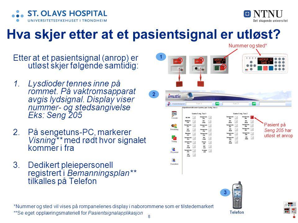 9 Ved pasientsignal (anrop), hvordan blir man tilkalt.