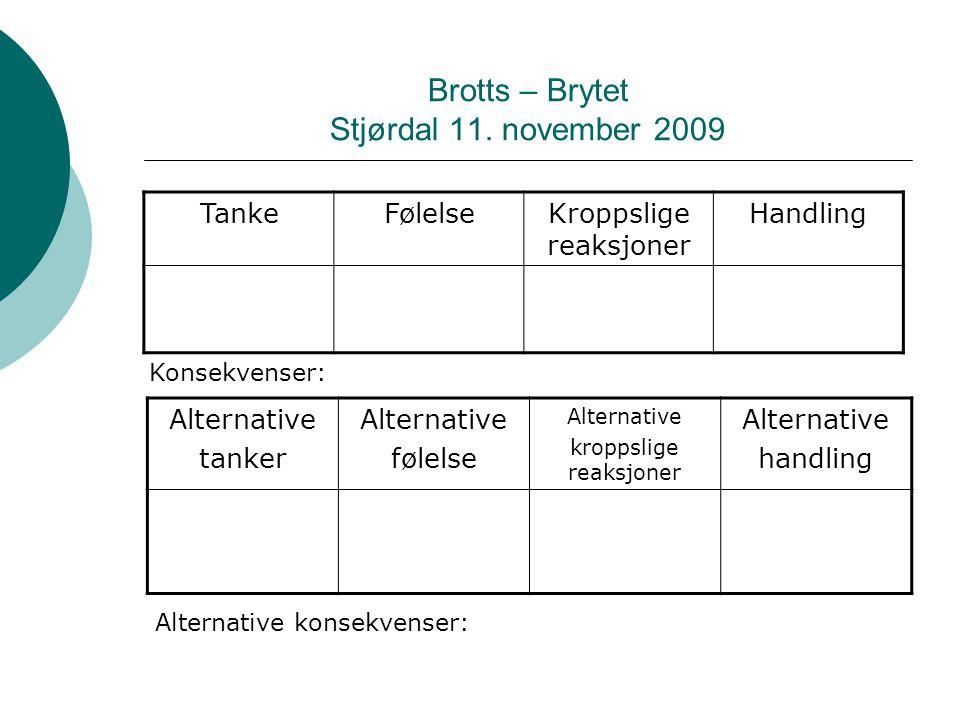 Brotts – Brytet Stjørdal 11. november 2009 TankeFølelseKroppslige reaksjoner Handling Konsekvenser: Alternative tanker Alternative følelse Alternative