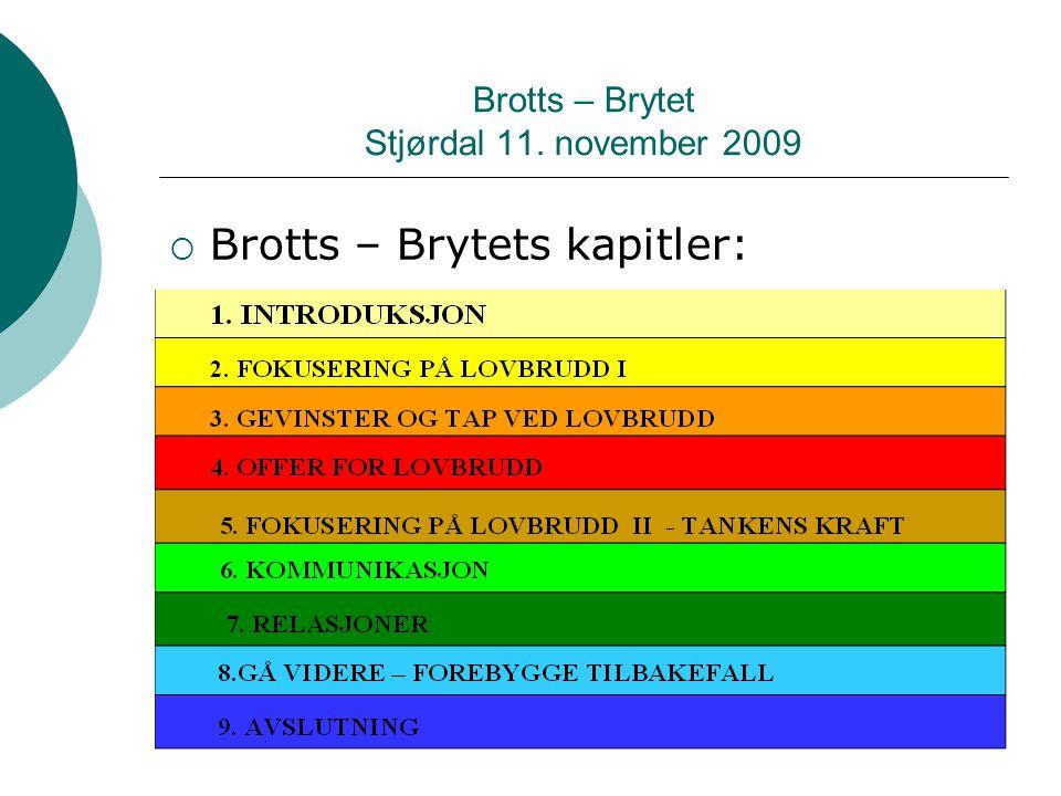 Brotts – Brytet Stjørdal 11. november 2009  Brotts – Brytets kapitler: