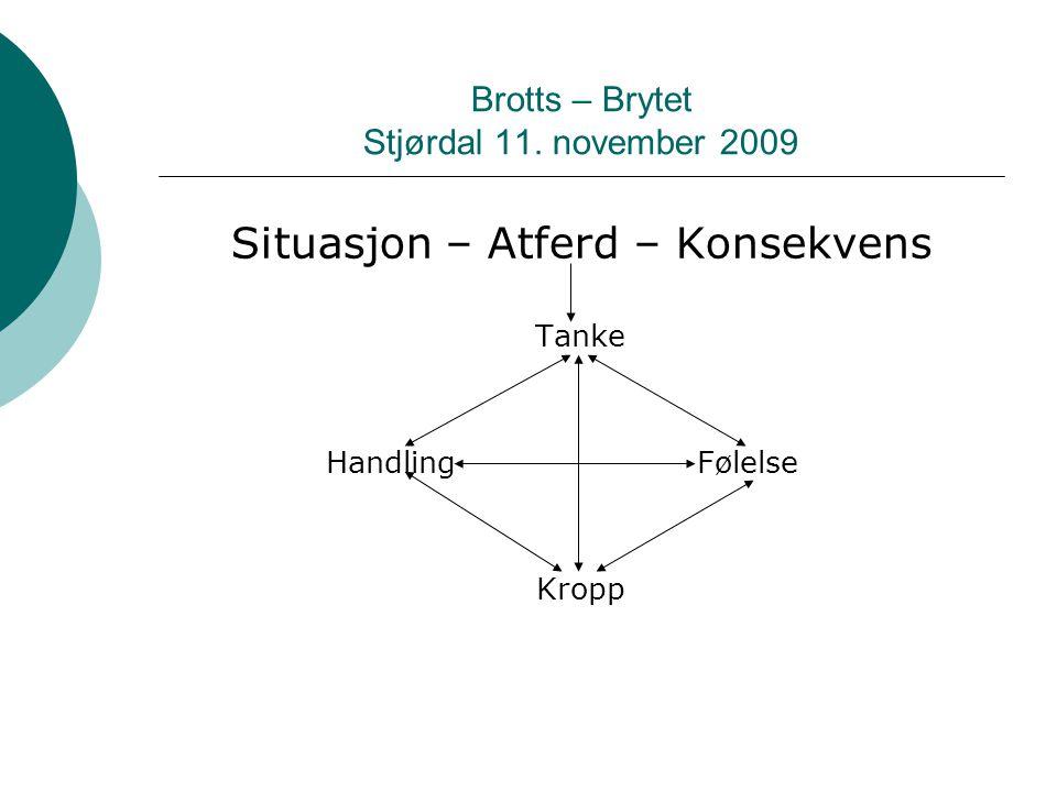 Brotts – Brytet Stjørdal 11. november 2009 Situasjon – Atferd – Konsekvens Tanke HandlingFølelse Kropp