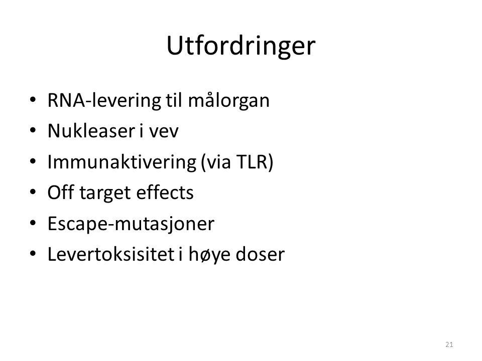 Utfordringer RNA-levering til målorgan Nukleaser i vev Immunaktivering (via TLR) Off target effects Escape-mutasjoner Levertoksisitet i høye doser 21