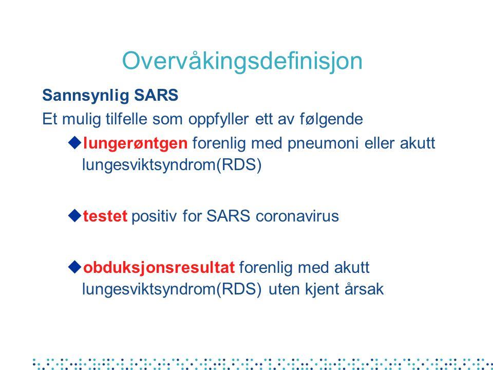 Overvåkingsdefinisjon Sannsynlig SARS Et mulig tilfelle som oppfyller ett av følgende ulungerøntgen forenlig med pneumoni eller akutt lungesviktsyndro