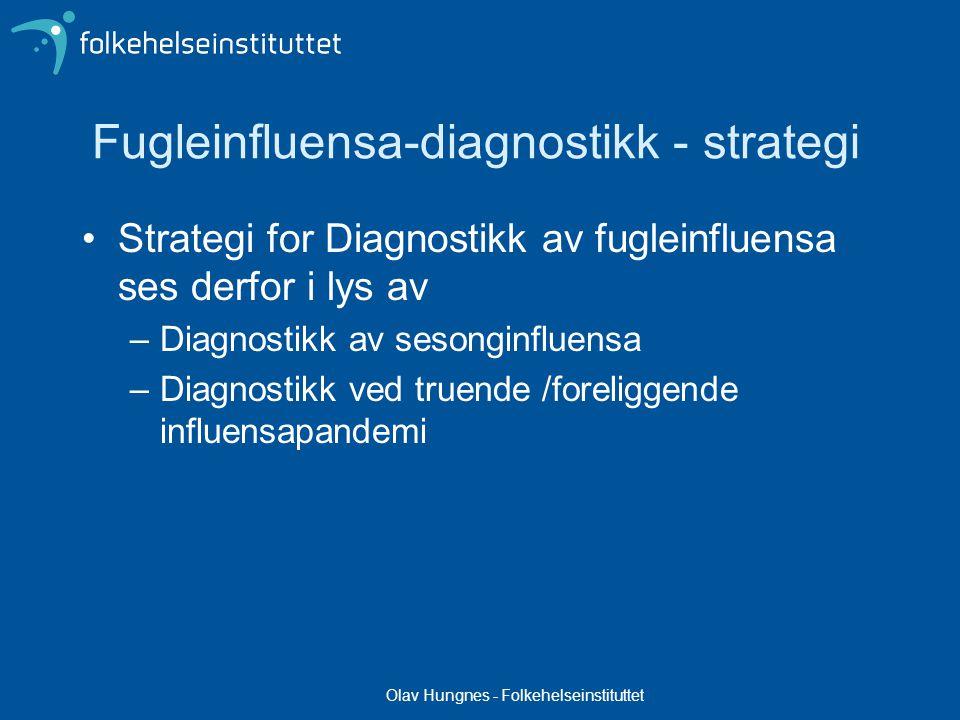 Olav Hungnes - Folkehelseinstituttet Fugleinfluensa-diagnostikk - strategi Strategi for Diagnostikk av fugleinfluensa ses derfor i lys av –Diagnostikk av sesonginfluensa –Diagnostikk ved truende /foreliggende influensapandemi