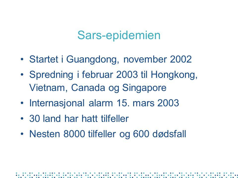 Sars-epidemien Startet i Guangdong, november 2002 Spredning i februar 2003 til Hongkong, Vietnam, Canada og Singapore Internasjonal alarm 15. mars 200
