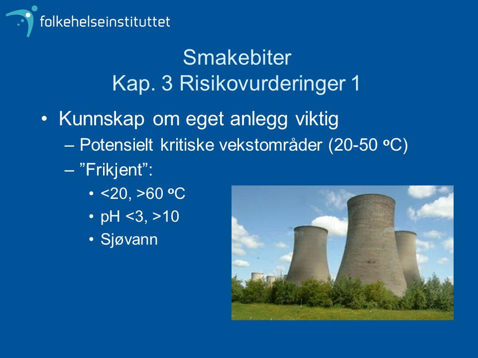"""Smakebiter Kap. 3 Risikovurderinger 1 Kunnskap om eget anlegg viktig –Potensielt kritiske vekstområder (20-50 o C) –""""Frikjent"""": 60 o C pH 10 Sjøvann"""