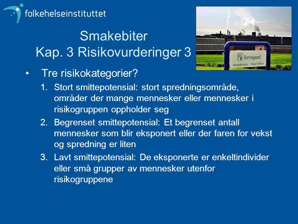 Smakebiter Kap.3 Risikovurderinger 3 Tre risikokategorier.