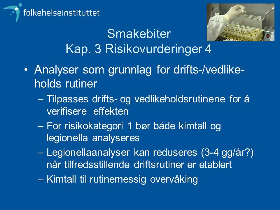 Smakebiter Kap. 3 Risikovurderinger 4 Analyser som grunnlag for drifts-/vedlike- holds rutiner –Tilpasses drifts- og vedlikeholdsrutinene for å verifi