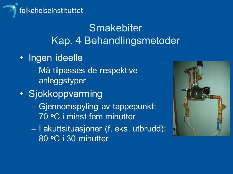 Smakebiter Kap. 4 Behandlingsmetoder Ingen ideelle –Må tilpasses de respektive anleggstyper Sjokkoppvarming –Gjennomspyling av tappepunkt: 70 o C i mi