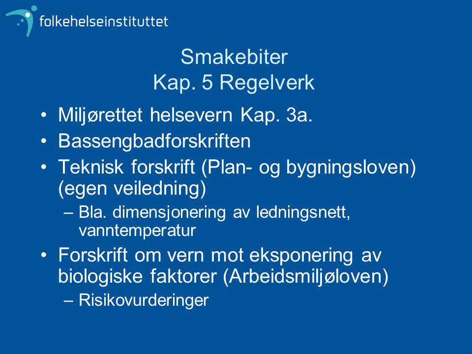 Smakebiter Kap. 5 Regelverk Miljørettet helsevern Kap. 3a. Bassengbadforskriften Teknisk forskrift (Plan- og bygningsloven) (egen veiledning) –Bla. di