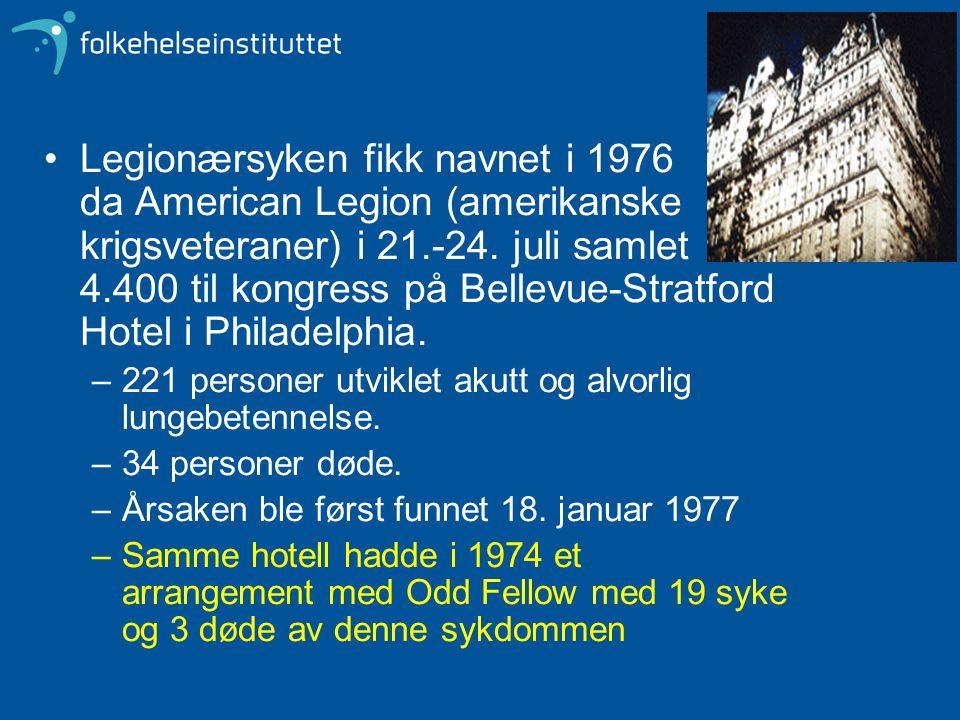 Legionærsyken fikk navnet i 1976 da American Legion (amerikanske krigsveteraner) i 21.-24. juli samlet 4.400 til kongress på Bellevue-Stratford Hotel