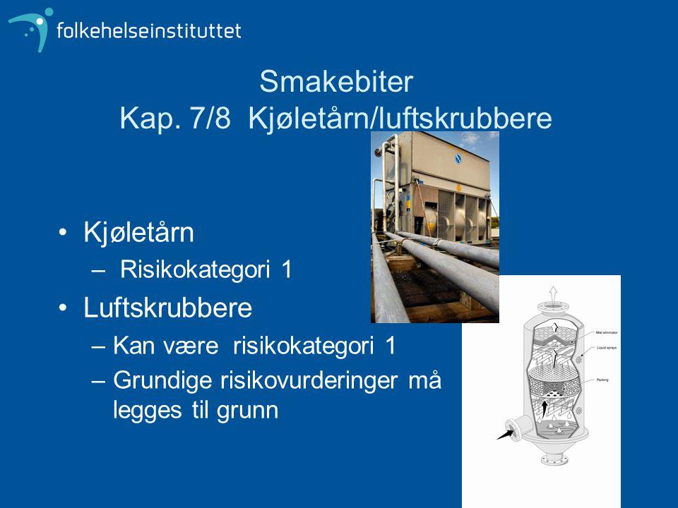 Smakebiter Kap. 7/8 Kjøletårn/luftskrubbere Kjøletårn – Risikokategori 1 Luftskrubbere –Kan være risikokategori 1 –Grundige risikovurderinger må legge