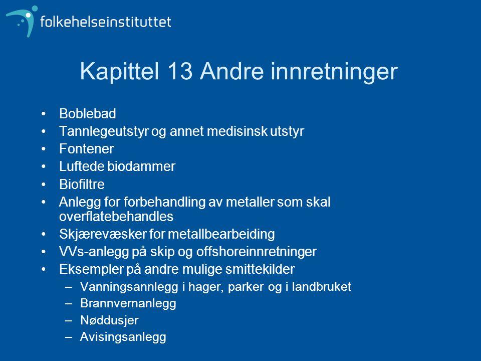 Kapittel 13 Andre innretninger Boblebad Tannlegeutstyr og annet medisinsk utstyr Fontener Luftede biodammer Biofiltre Anlegg for forbehandling av meta
