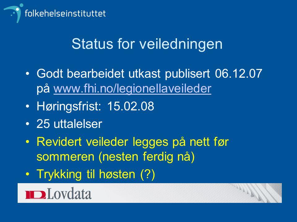 Status for veiledningen Godt bearbeidet utkast publisert 06.12.07 på www.fhi.no/legionellaveilederwww.fhi.no/legionellaveileder Høringsfrist: 15.02.08