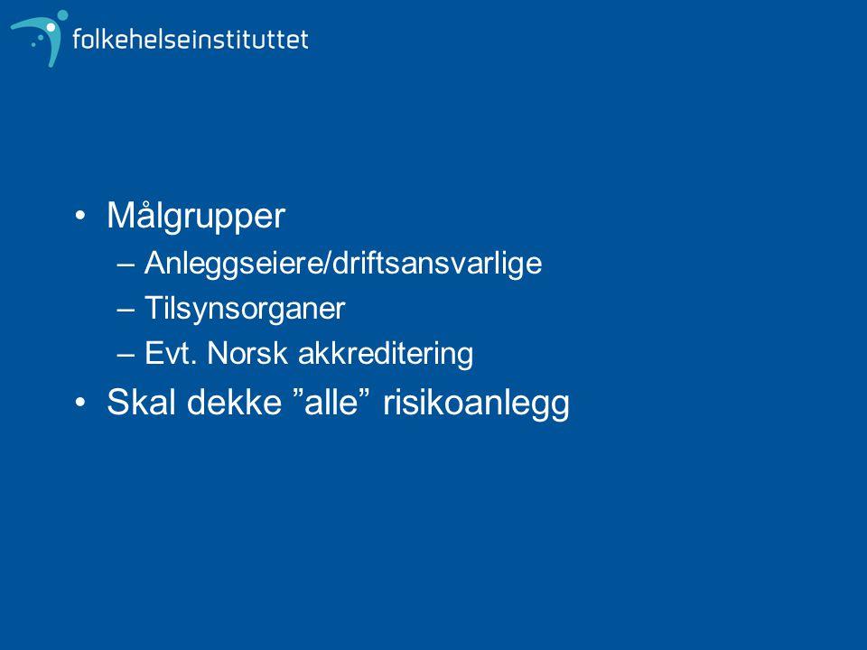 """Målgrupper –Anleggseiere/driftsansvarlige –Tilsynsorganer –Evt. Norsk akkreditering Skal dekke """"alle"""" risikoanlegg"""