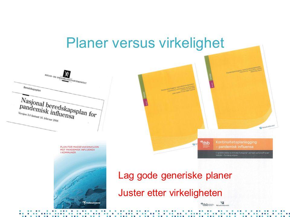 Planer versus virkelighet Lag gode generiske planer Juster etter virkeligheten