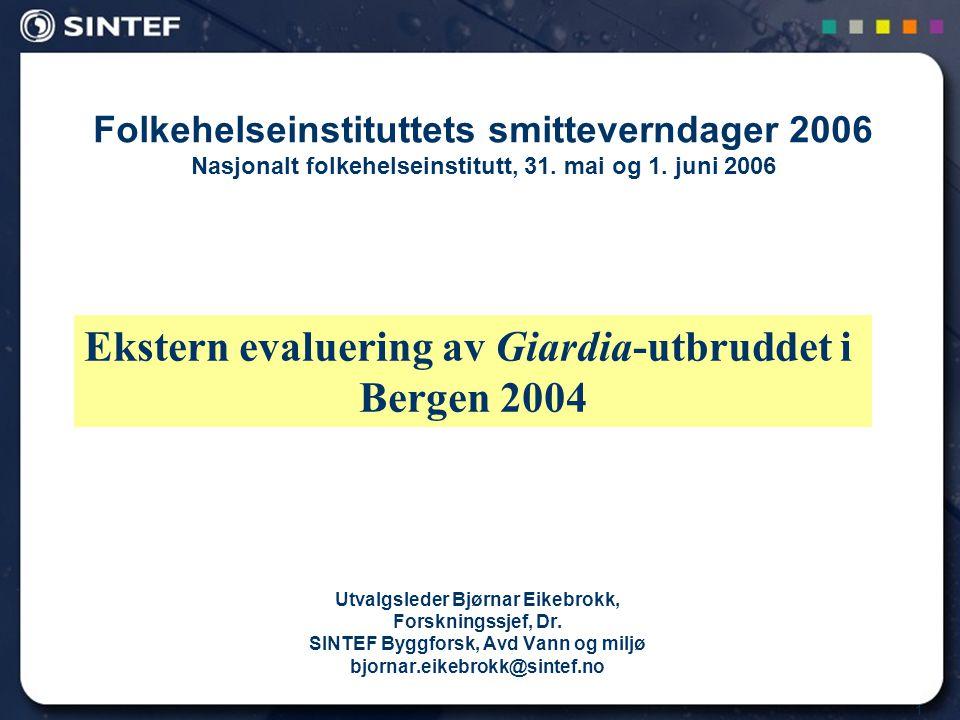 1 Folkehelseinstituttets smitteverndager 2006 Nasjonalt folkehelseinstitutt, 31. mai og 1. juni 2006 Utvalgsleder Bjørnar Eikebrokk, Forskningssjef, D