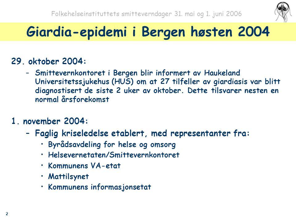 2 Folkehelseinstituttets smitteverndager 31. mai og 1. juni 2006 Giardia-epidemi i Bergen høsten 2004 29. oktober 2004: –Smittevernkontoret i Bergen b