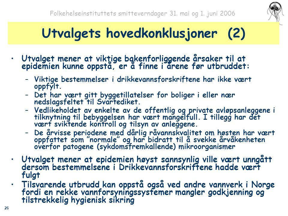 26 Folkehelseinstituttets smitteverndager 31. mai og 1. juni 2006 Utvalgets hovedkonklusjoner (2) Utvalget mener at viktige bakenforliggende årsaker t