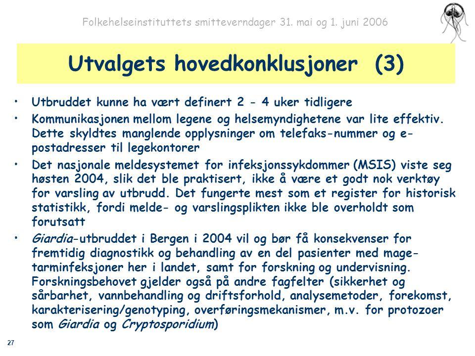 27 Folkehelseinstituttets smitteverndager 31. mai og 1. juni 2006 Utvalgets hovedkonklusjoner (3) Utbruddet kunne ha vært definert 2 - 4 uker tidliger