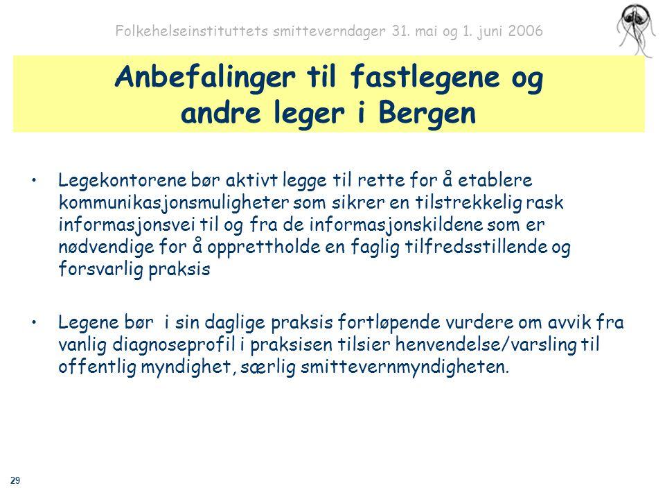 29 Folkehelseinstituttets smitteverndager 31. mai og 1. juni 2006 Anbefalinger til fastlegene og andre leger i Bergen Legekontorene bør aktivt legge t