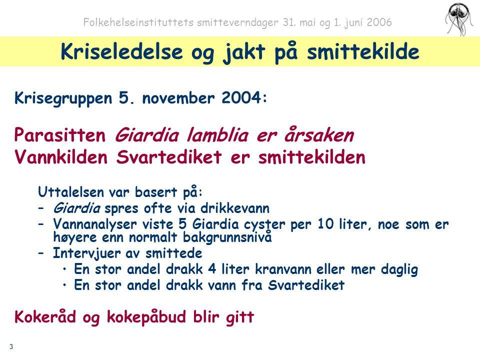 3 Folkehelseinstituttets smitteverndager 31. mai og 1. juni 2006 Kriseledelse og jakt på smittekilde Krisegruppen 5. november 2004: Parasitten Giardia