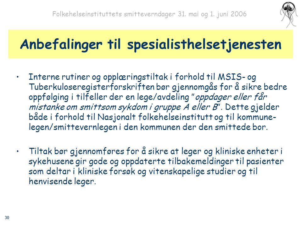 30 Folkehelseinstituttets smitteverndager 31. mai og 1. juni 2006 Anbefalinger til spesialisthelsetjenesten Interne rutiner og opplæringstiltak i forh