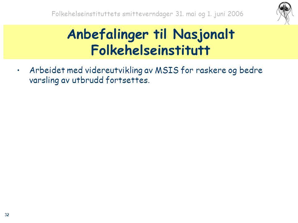 32 Folkehelseinstituttets smitteverndager 31. mai og 1. juni 2006 Anbefalinger til Nasjonalt Folkehelseinstitutt Arbeidet med videreutvikling av MSIS