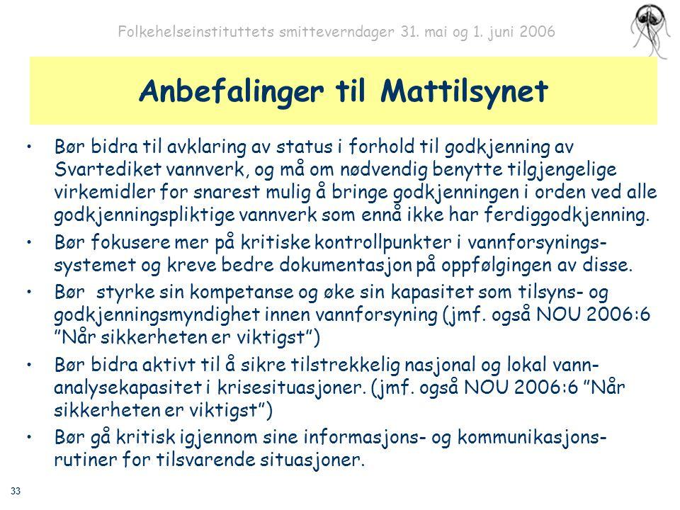 33 Folkehelseinstituttets smitteverndager 31. mai og 1. juni 2006 Anbefalinger til Mattilsynet Bør bidra til avklaring av status i forhold til godkjen