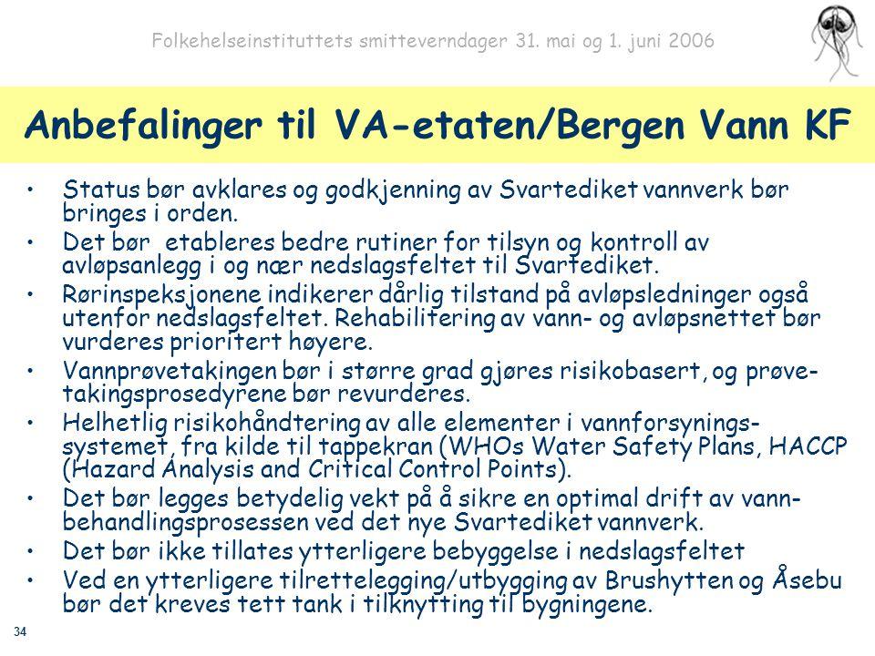 34 Folkehelseinstituttets smitteverndager 31. mai og 1. juni 2006 Anbefalinger til VA-etaten/Bergen Vann KF Status bør avklares og godkjenning av Svar