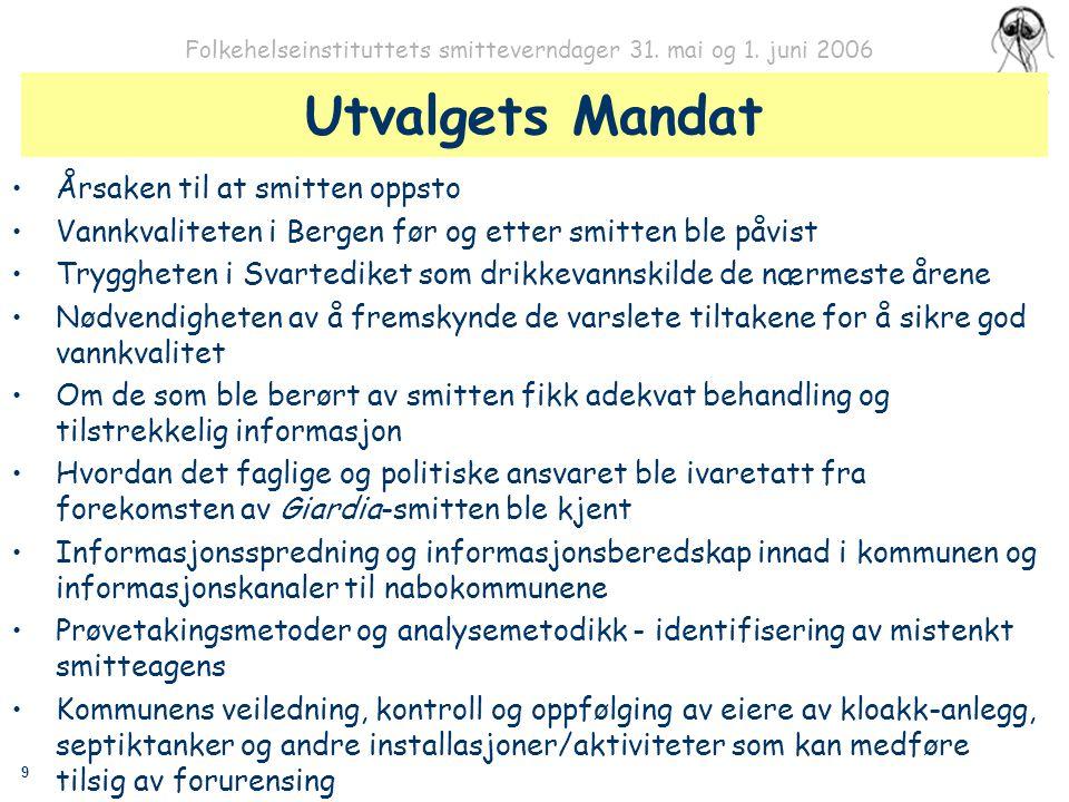 9 Folkehelseinstituttets smitteverndager 31. mai og 1. juni 2006 Utvalgets Mandat Årsaken til at smitten oppsto Vannkvaliteten i Bergen før og etter s