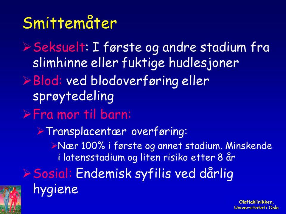 Olafiaklinikken, Universitetet i Oslo Smittemåter  Seksuelt: I første og andre stadium fra slimhinne eller fuktige hudlesjoner  Blod: ved blodoverfø