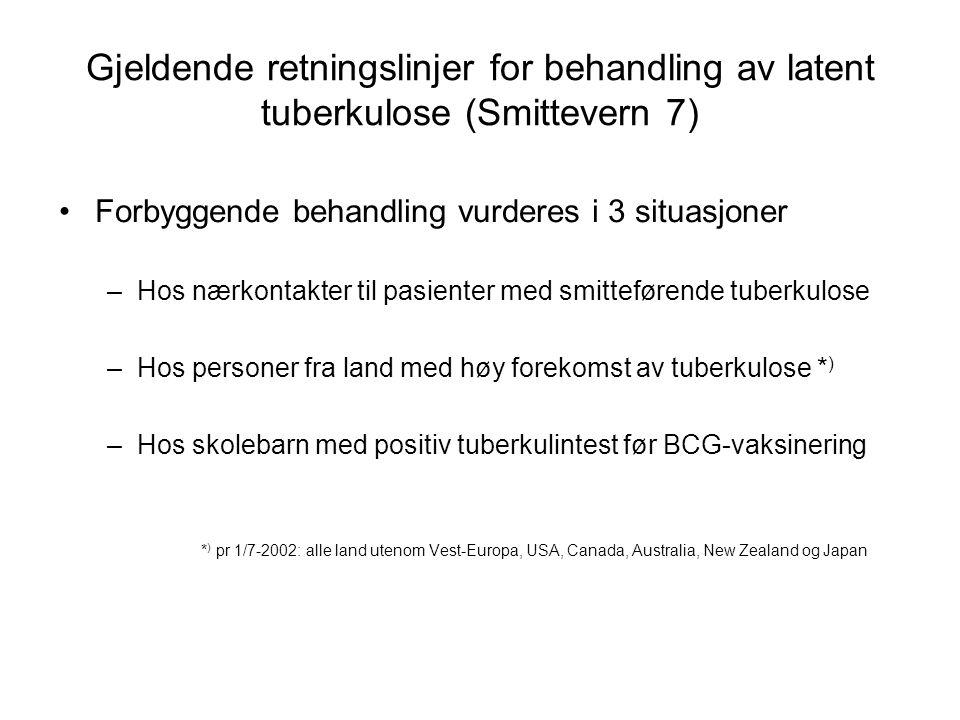 Gjeldende retningslinjer for behandling av latent tuberkulose (Smittevern 7) Forbyggende behandling vurderes i 3 situasjoner –Hos nærkontakter til pas