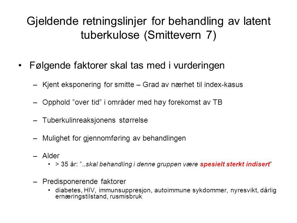 Gjeldende retningslinjer for behandling av latent tuberkulose (Smittevern 7) Følgende faktorer skal tas med i vurderingen –Kjent eksponering for smitte – Grad av nærhet til index-kasus –Opphold over tid i områder med høy forekomst av TB –Tuberkulinreaksjonens størrelse –Mulighet for gjennomføring av behandlingen –Alder > 35 år: ..skal behandling i denne gruppen være spesielt sterkt indisert –Predisponerende faktorer diabetes, HIV, immunsuppresjon, autoimmune sykdommer, nyresvikt, dårlig ernæringstilstand, rusmisbruk