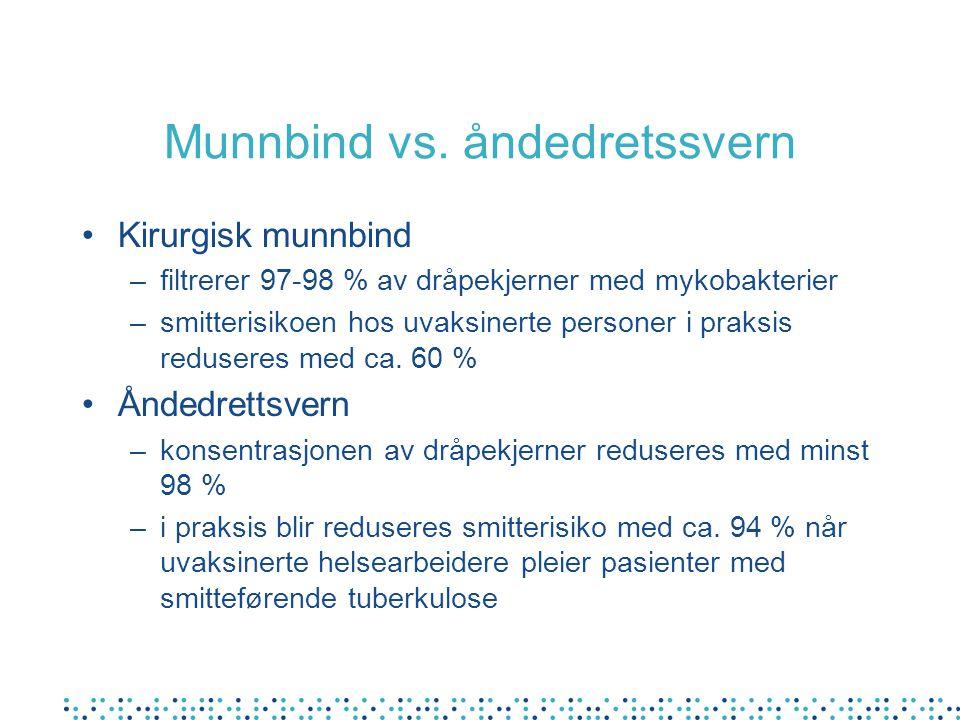 Munnbind vs. åndedretssvern Kirurgisk munnbind –filtrerer 97-98 % av dråpekjerner med mykobakterier –smitterisikoen hos uvaksinerte personer i praksis