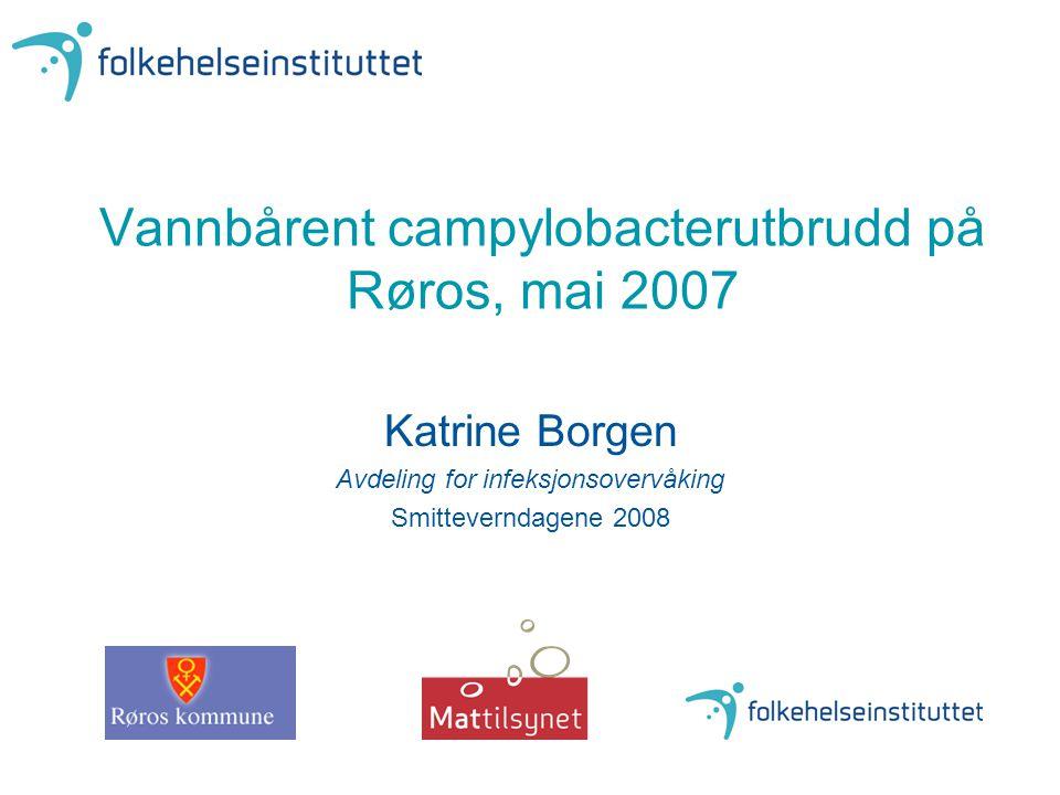 Røros Verneverdig by på UNESCOs liste Ca 5600 innbyggere Kommunalt vannverk, ca 3500 abonnenter 2-5 tilfeller av campylobacteriose årlig de siste 10 år