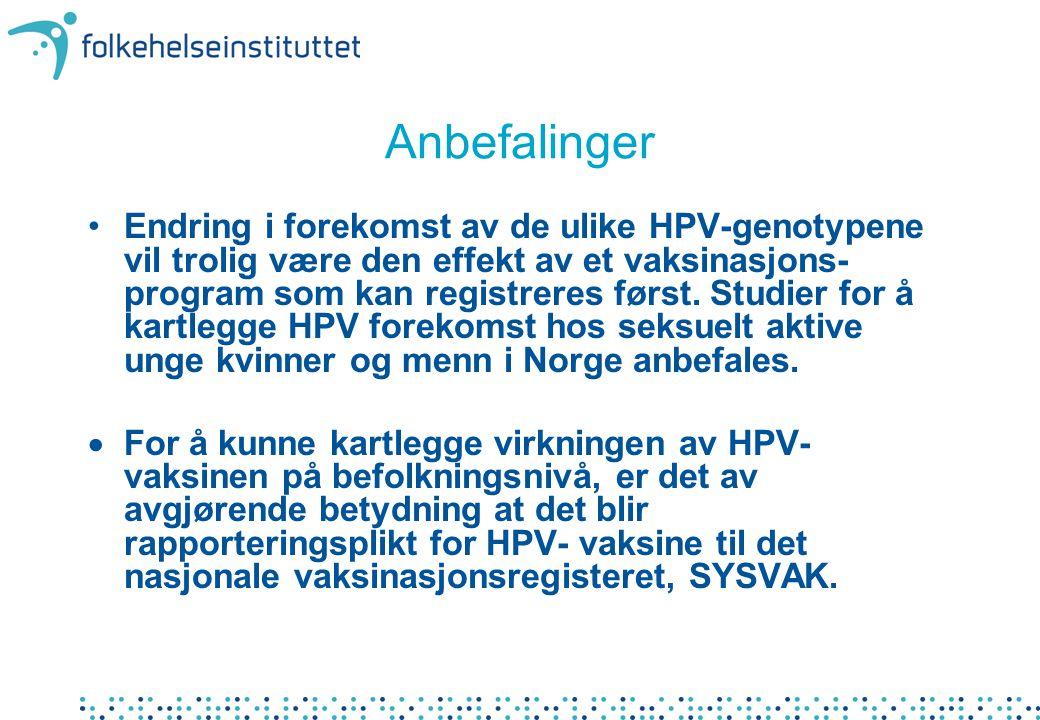 Anbefalinger Endring i forekomst av de ulike HPV-genotypene vil trolig være den effekt av et vaksinasjons- program som kan registreres først. Studier