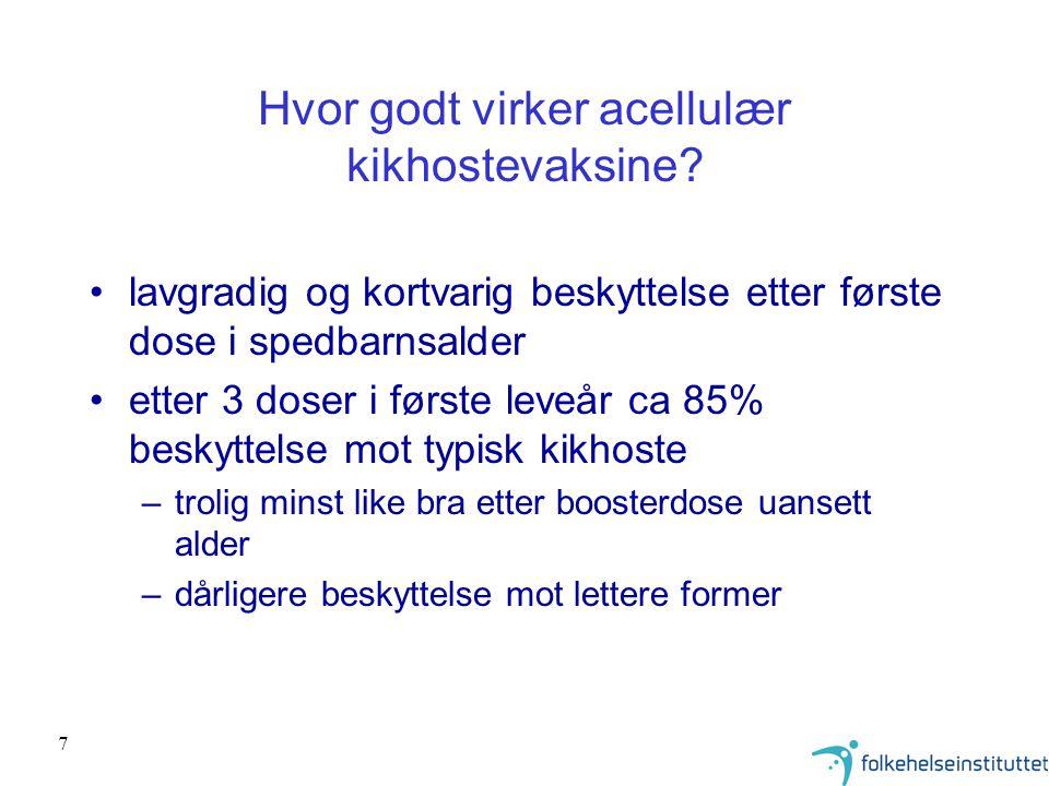 18 Fordeling av serotyper/grupper etter fallende hyppighet av pneumokokkisolater fra systemisk pneumokokk-sykdom hos barn under 5 år i Norge, 1995-2001 Pedersen MK et al.