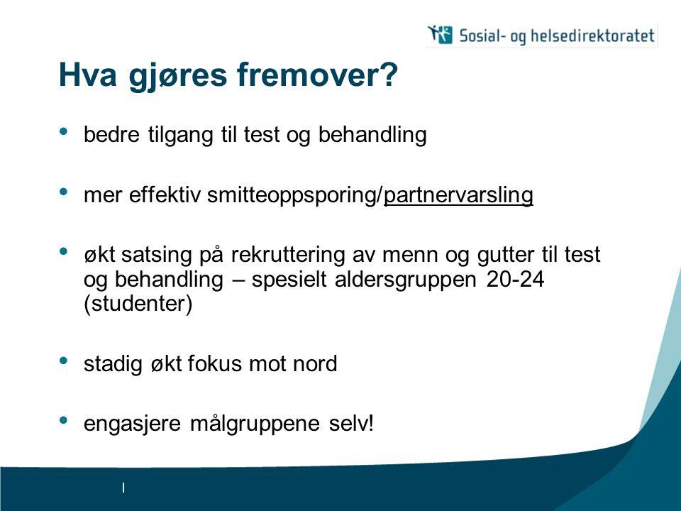 | Hva gjøres fremover? bedre tilgang til test og behandling mer effektiv smitteoppsporing/partnervarsling økt satsing på rekruttering av menn og gutte