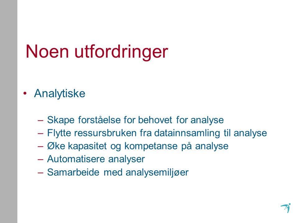 Noen utfordringer Analytiske –Skape forståelse for behovet for analyse –Flytte ressursbruken fra datainnsamling til analyse –Øke kapasitet og kompetanse på analyse –Automatisere analyser –Samarbeide med analysemiljøer