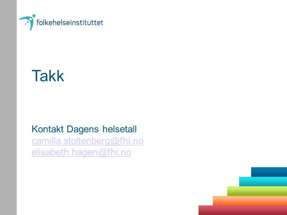 Takk Kontakt Dagens helsetall camilla.stoltenberg@fhi.no elisabeth.hagen@fhi.no camilla.stoltenberg@fhi.no elisabeth.hagen@fhi.no