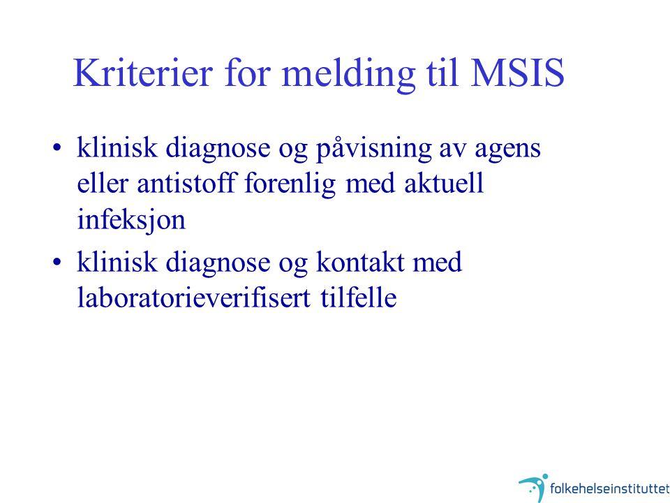 Kriterier for melding til MSIS klinisk diagnose og påvisning av agens eller antistoff forenlig med aktuell infeksjon klinisk diagnose og kontakt med l