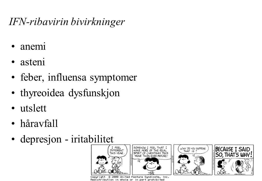 IFN-ribavirin bivirkninger anemi asteni feber, influensa symptomer thyreoidea dysfunskjon utslett håravfall depresjon - iritabilitet