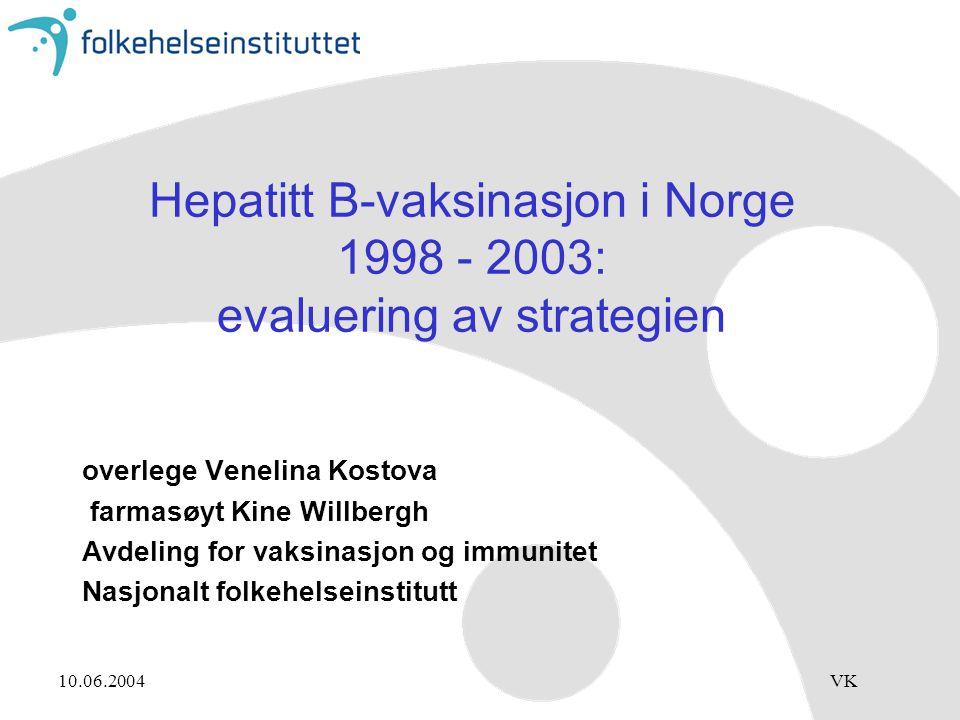 10.06.2004VK Hepatitt B-vaksinasjon i Norge 1998 - 2003: evaluering av strategien overlege Venelina Kostova farmasøyt Kine Willbergh Avdeling for vaksinasjon og immunitet Nasjonalt folkehelseinstitutt